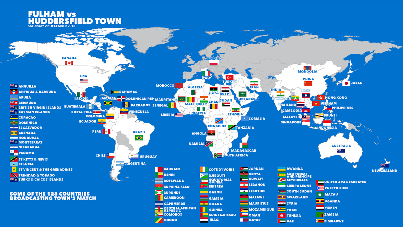 WHERE TO WATCH FULHAM VS TOWN ACROSS THE GLOBE - News - Huddersfield on syria on world map, kuwait on world map, iraq on world map, india on world map, eritrea on world map, cuba on world map, mexico world map, egypt on world map, middle east map, united states on world map, brunel on world map, saudi arabia map outline, japan on world map, nigeria on world map, iran on world map, africa on world map, turkey on world map, china on world map, afghanistan map,